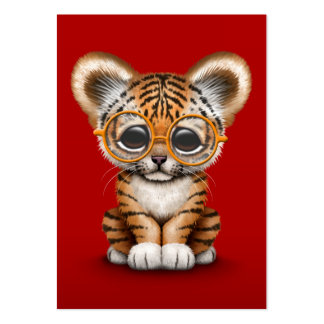 Cute Baby Tiger Cub Wearing Glasses on Red Large Business Card
