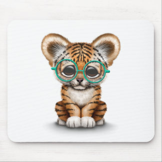 Cute Baby Tiger Cub Wearing Glasses on White Mouse Pad