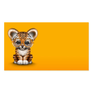 Cute Baby Tiger Cub Wearing Glasses on Yellow Business Card
