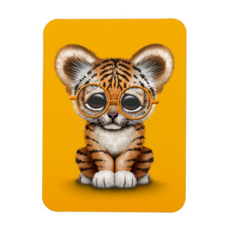 Cute Baby Tiger Cub Wearing Glasses on Yellow Magnet