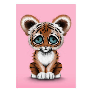 Cute Baby Tiger Cub with Blue Eyes on Pink Large Business Card