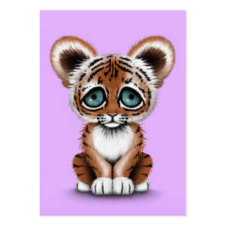 Cute Baby Tiger Cub with Blue Eyes on Purple Large Business Card