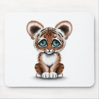 Cute Baby Tiger Cub with Blue Eyes on White Mouse Pad
