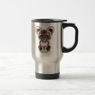 Cute Baby Tiger Cub with Blue Eyes on White Travel Mug