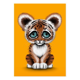 Cute Baby Tiger Cub with Blue Eyes on Yellow Large Business Card