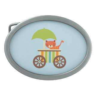 Cute Baby Tiger on Ice Cream Cart Kids Gifts Belt Buckles