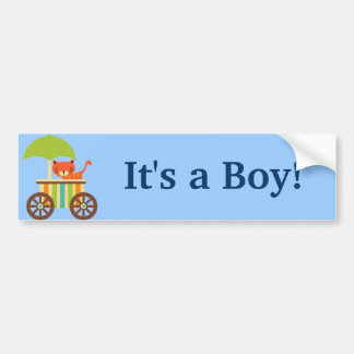 Cute Baby Tiger on Ice Cream Cart Kids Gifts Bumper Sticker