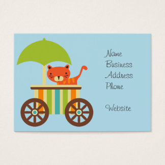 Cute Baby Tiger on Ice Cream Cart Kids Gifts Business Card