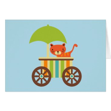Toddler & Baby themed Cute Baby Tiger on Ice Cream Cart Kids Gifts Card
