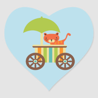 Cute Baby Tiger on Ice Cream Cart Kids Gifts Heart Sticker