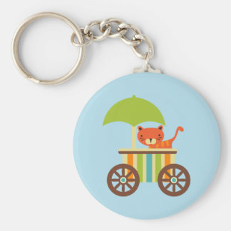 Cute Baby Tiger on Ice Cream Cart Kids Gifts Keychains