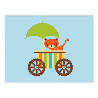 Cute Baby Tiger on Ice Cream Cart Kids Gifts Postcard