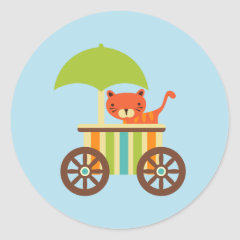 Cute Baby Tiger on Ice Cream Cart Kids Gifts Stickers