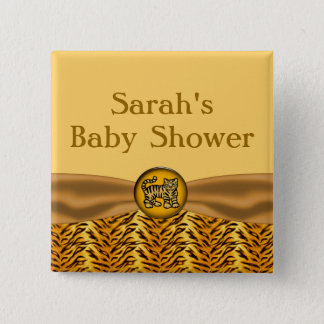 Cute Baby Tiger Stripes Baby Shower Button