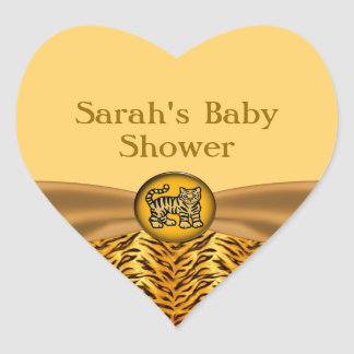 Cute Baby Tiger Stripes Baby Shower Heart Sticker