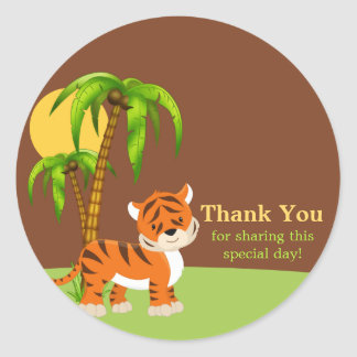 Cute Baby Tiger Thank You Sticker