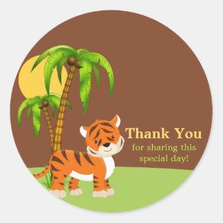 Cute Baby Tiger Thank You Sticker Round Sticker