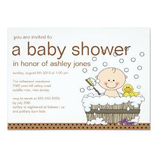 """Cute Baby Tub Boy Baby Shower 5"""" X 7"""" Invitation Card"""