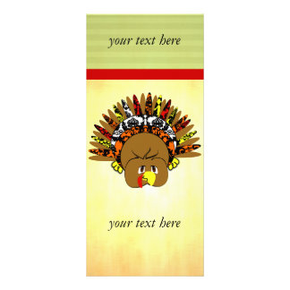 Cute Baby Turkey with Damask Feathers Rack Card