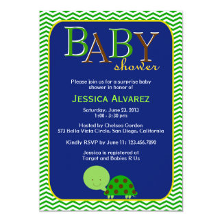 Cute Baby Turtle Baby Boy Baby Shower 5x7 Paper Invitation Card