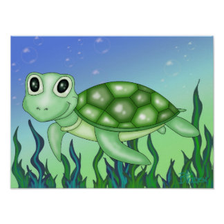 Cute Baby Turtle Poster