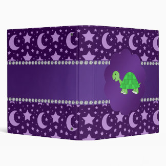 Cute baby turtle purple stars and moons binder