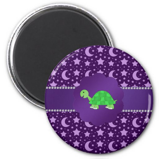 Cute baby turtle purple stars and moons magnets
