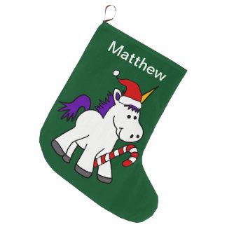 Cute Baby Unicorn in Santa Hat Christmas Cartoon Large Christmas Stocking