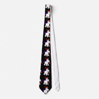 Cute Baby Unicorn in Santa Hat Christmas Cartoon Neck Tie