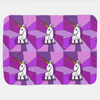Cute Baby Unicorn with Purple Mane Swaddle Blanket