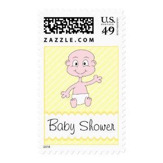 Cute baby waving. Baby Shower. Postage Stamps