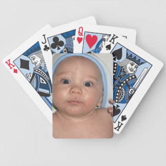 Cute Baby Wearing Hooded Towel After a Bath Bicycle Playing Cards