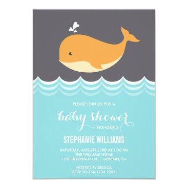 Beach Themed Cute Baby Whale Baby Shower Invitations