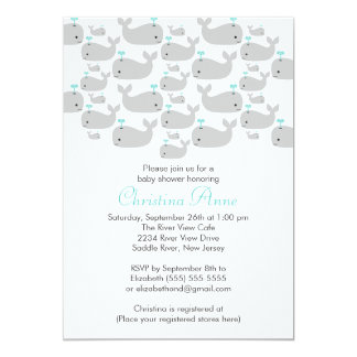 """Cute Baby Whale Baby Shower Invitations 5"""" X 7"""" Invitation Card"""