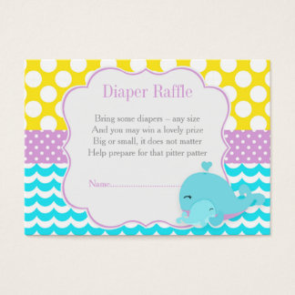 Cute Baby Whale Blue Boy Baby Diaper Raffle Business Card