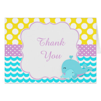 Cute Baby Whale Blue Boy Baby Thank You Card