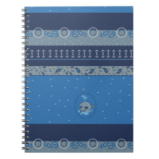 Cute baby whale fun illustration sea style spiral notebook
