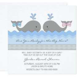 Cute Baby Whale Gender Reveal Invitation