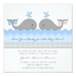 Cute Baby Whale Gender Reveal 5.25x5.25 Square Paper Invitation Card