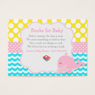 Cute Baby Whale Girl Baby Book Request Business Card