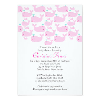 """Cute Baby Whale Girl Baby Shower Invitations 5"""" X 7"""" Invitation Card"""