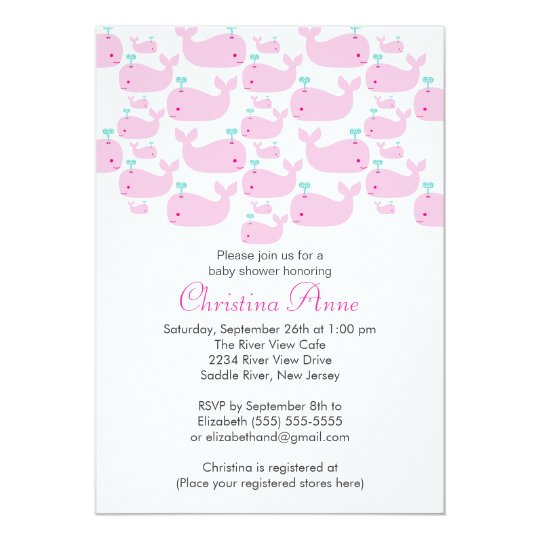 Cute Baby Whale Girl Baby Shower Invitations
