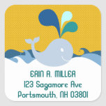 Cute Baby Whale in the Ocean Address Label Square Stickers