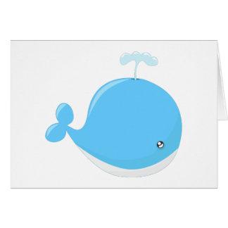 Cute baby whale kawaii cartoon card
