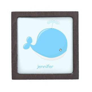 Cute baby whale kawaii cartoon gift box