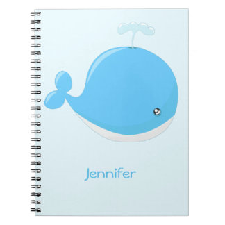 Cute baby whale kawaii cartoon kids notebook
