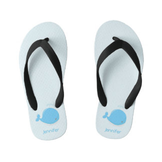 Cute baby whale kawaii cartoon name kids slippers kid's flip flops