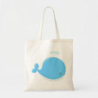 Cute baby whale kawaii cartoon tote bag