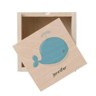 Cute baby whale kawaii cartoon wooden keepsake box