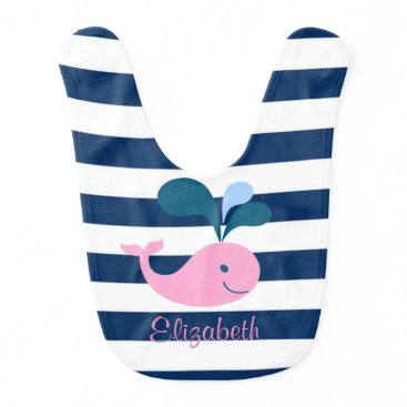 Beach Themed Cute Baby Whale, Navy Blue Stripes-Personalized Baby Bib